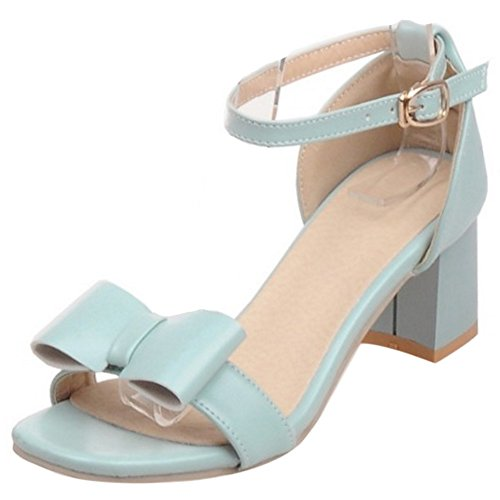 COOLCEPT Women Fashion Ankle Strap Sandals Open Toe Block Heel Shoes With Bow Blue