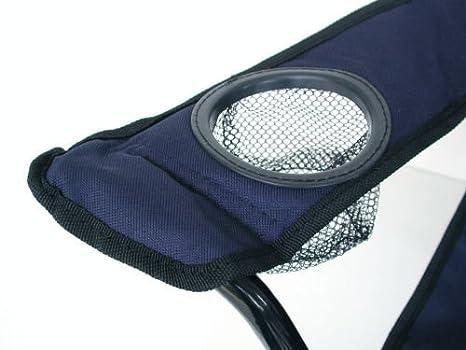 Silla plegable con soporte para bebidas y funda azul varios colores