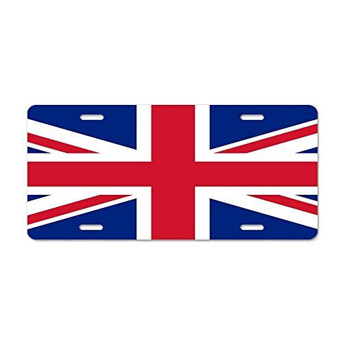 FloralFlames UK Union Jack Flag - Authentic Version (Duvet Print On Blue Background) Metal Sign Automotive License Plate Car Tags Cover for Woman Man 12