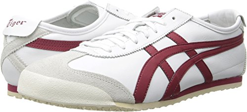 Leather Tigers (Onitsuka Tiger Mexico 66 Classic Running Shoe, White/Burgundy, 6 M US)