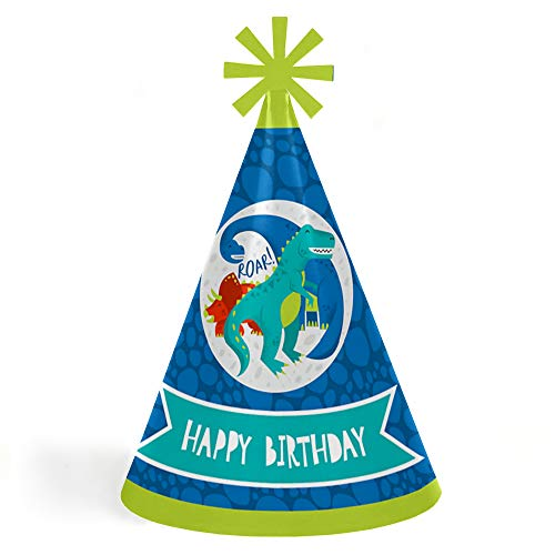 Roar Dinosaur - Cone Happy Birthday Party Hats for Kids and Adults - Set of 8 (Standard Size) (Happy Birthday Cone Hat)
