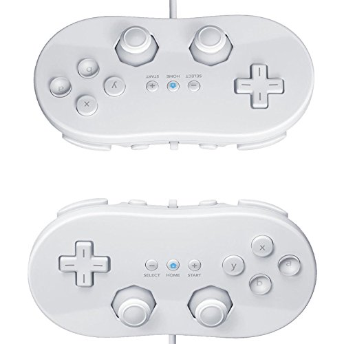 2X White Classic Pro Controller for Nintendo Wii Remote