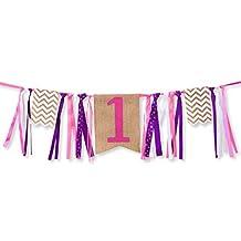 First Birthday Decorations - 1st Birthday - Burlap Highchair Banner for Girl