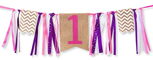 [First Birthday Decorations - 1st Birthday - Burlap Highchair Banner for Girl] (Infant Red Minnie My First Disney Costumes)