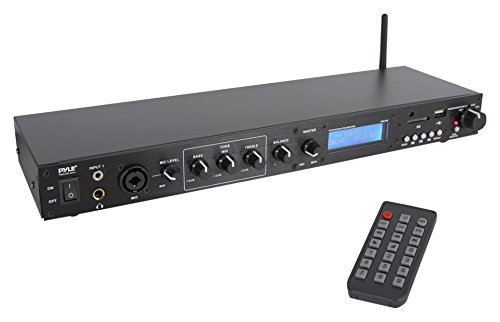 Pyle Pro Audio Bluetooth Pre-Amplifier Receiver System - Digital Rack Mount Studio Pre-Amp, Recording Mode, FM Radio - Receiver Rackmount Wireless