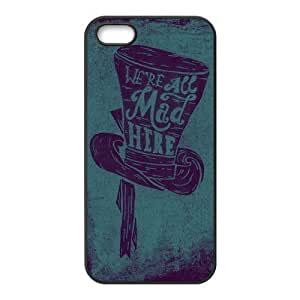 iPhone 5S Protective Case - We are All Mad Here Hardshell Carrying Case Cover for iPhone 5 / 5S