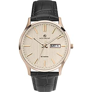 Accurist Mens Stainless Steel Japanese Quartz Classic Watch With Day-Date Window, 50m Water Resistant, Genuine Leather…