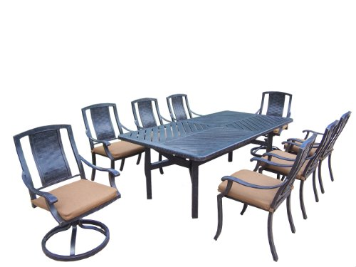 Oakland Living Vanguard 9-Piece Furniture Set with 86 by 44-Inch Table, 6 Stackable Chairs, 2 Swivel Rockers and Sunbrella Cushions