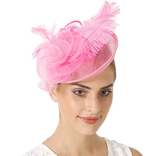 Fascinators Sinamay Hats for Women for Tea Party Kentucky Derby Wedding Cocktail Mesh Feathers Hair (Feather Light Womens Hat)