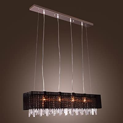 LightInTheBoxStylish Pendant Light with Black Fabric Shade Modern Stylish Pendant Hanging Drop Light with 4 lights Chain/Cord Adjustable for Living Room Dining Room Hallway and Entery