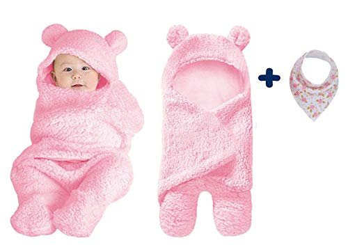 Kiddytopia Premium Baby Swaddle Cover Hooded Blanket for Newborn Babies Soft & Cute Multi-Functional for Receiving Sleeping & Wrapping Boy & Girl Unisex Brand with Baby bib Gift (Pink)