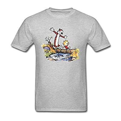 Men's Thomas Calvin And Hobbes Tiger Single-plank Bridge Short Sleeve T-Shirt