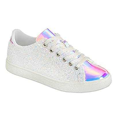 Forever Link Women's Glitter Fashion Sneakers (8.5, White Glitter-1)