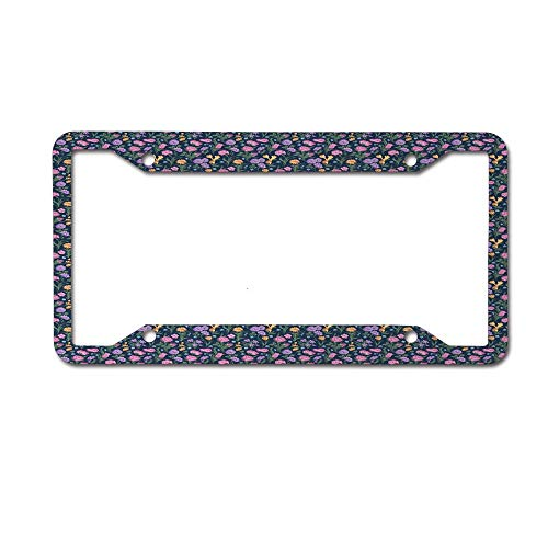 Dinzisalugg Wavy Thin Leaf Pinky Tulips Violet Pansy Flowers on Violet Polka Dotted Background License Plate Frame Car tag Cover Aluminum Car for US Canada Standard 4 Holes and Screws