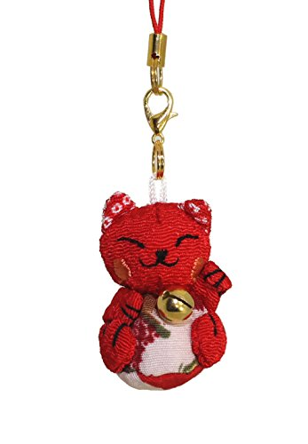 Lucky Cat Smartphone Cell Phone Charm (Red/Red)
