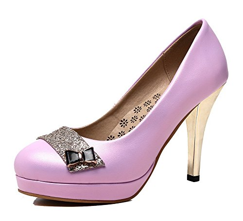 Toe WeiPoot Women's Purple Solid Pull Shoes Heels PU On High Pumps Round gYqU1rZPq7