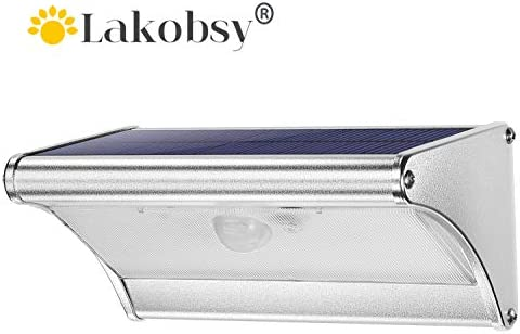 Lakobsy 38 LED Solar Light Outdoor 120 Infrared Motion Sensor Aluminum Alloy Housing IP65 Waterproof Security Wall Light for Stairs, Front Door, Garage, Yard, Fence, Deck
