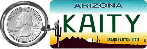Personalized Arizona Cactus State Replica License Plate Keychain