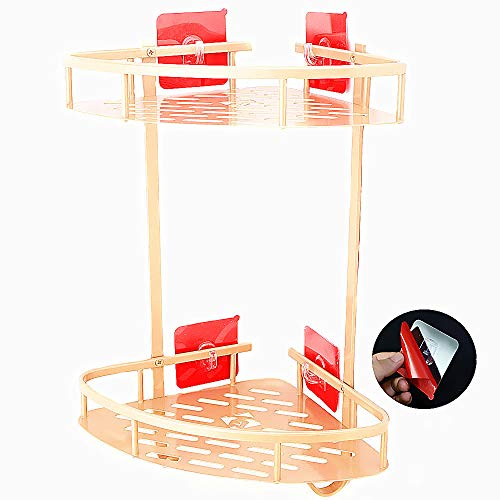 ANJUU Bathroom Shelf Home Hook Shower Storage (No Drilling) Double Layers Wall Shelf Corner Shelf Basket for Towels, Soap, Shampoo, Lotion, Accessories, Gold Tone (Triangle Lotion Soap)