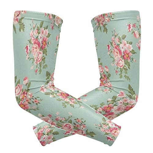 Pineapple Ladder Creative Vintage Green Flower Floral Polyester 1 Pair Protection Cooling Or Warmer Arm Sleeves for Men Women Kids Sunblock Protective Gloves Running Golf Cycling Driving