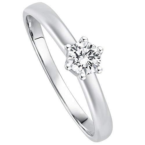 Juwelier Gelber Diamant Ring aus 585 14 Kt Weißgold mit Filigrane Fassung Brillant Schliff Lupenrein