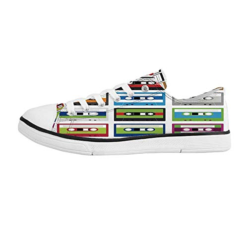 - YOLIYANA 90s Comfortable Low Top Canvas Shoes,Collection of Retro Plastic Audio Cassettes Tapes Old Technology Entertainment Theme for Men Boys,US 9