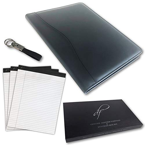 Black Genuine Leather Padfolio for Men/Women by di cuoio fico - iPad/Phone/Pens/Pad Holder, Leather Legal Pad Portfolio, Legal Pad Holder, Work Portfolio Organizer for Women, Leather Folder Portfolio