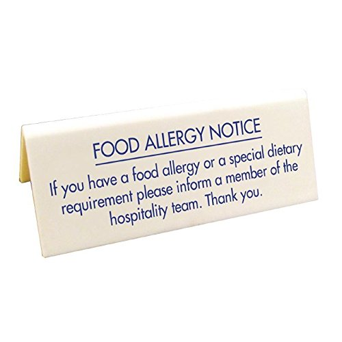 Food Allergy Table Notice Information Sign Restaurants Hotels 100x45mm Non Branded 22252