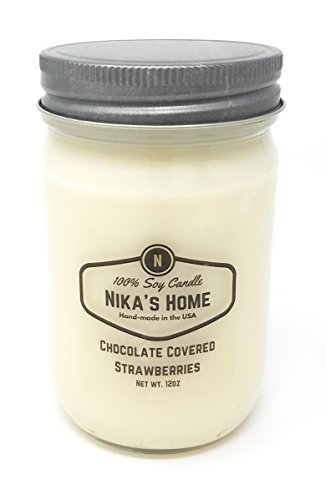 Day Chocolate Covered Strawberries (Nika's Home Chocolate Covered Strawberry Soy Candle - 12oz Mason Jar)