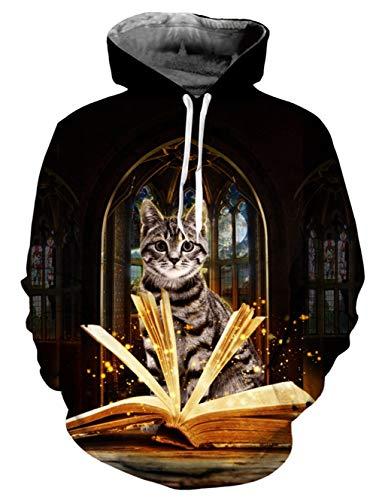 UNIFACO Men 3D Printed Hoodies Casual Lightweight Workout Hoody Sweatshirt Hooded Velvet with Big Pockets XX-Large,Reading Cat