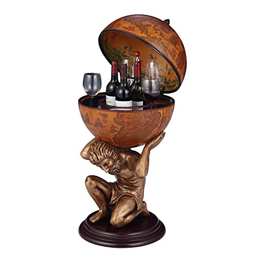Nex® Wine Cabinets Classical Wood Globe Wine Bar Bronze Stand Supporter 20