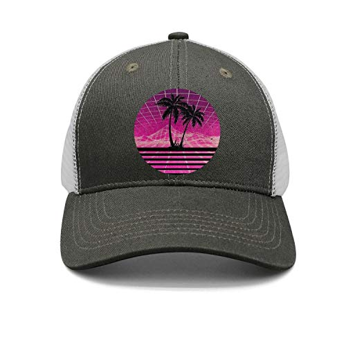 Fit Mens Baseball caps Modern Retro 80s Outrun Sunset Palm Tree Snapback hat for Men Curved dad hat for Women