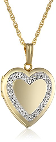 14k Yellow Gold-Filled Crystal Heart Locket Necklace, 18""