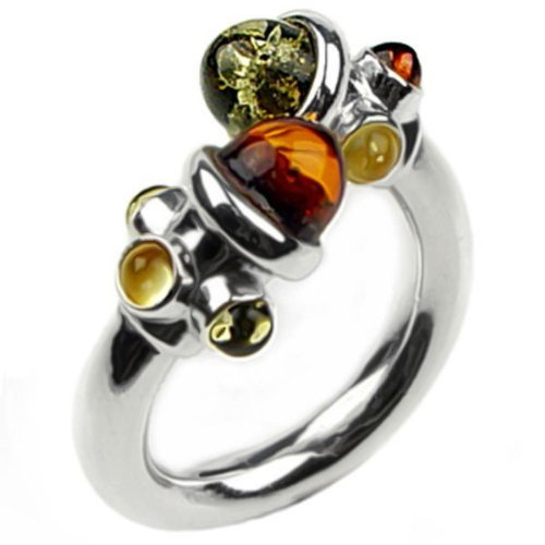 Multicolor Amber Sterling Silver Perfect Modern Ring - Lapis Genuine Cufflinks