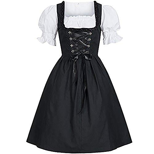 Pevor Womens Gothic Anime Cosplay Lolita French Maid Dress Halloween Fancy Dress Costumes Outfit with Bowknot -