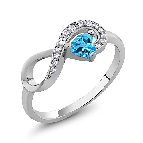 925 Sterling Silver Swiss Blue Topaz Women's Infinity Ring 0.44 cttw 4mm Heart Shape Center (Size 7) (925 Sterling Silver Swiss)