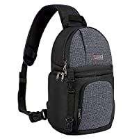 MOSISO Camera Bag, Water Repellent Shockproof Sling Backpack with Adjustable Crossbody Strap and Accessory Storage Compartments for DSLR/SLR/Mirrorless Cameras (Canon, Nikon, Sony etc.), Black
