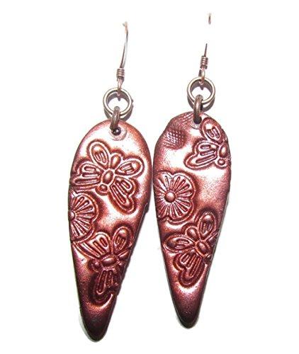 [Polymer Clay Drop Earrings Dancing Butterflies Metallic Copper Pigment Coating] (Butterfly Tween Costumes)