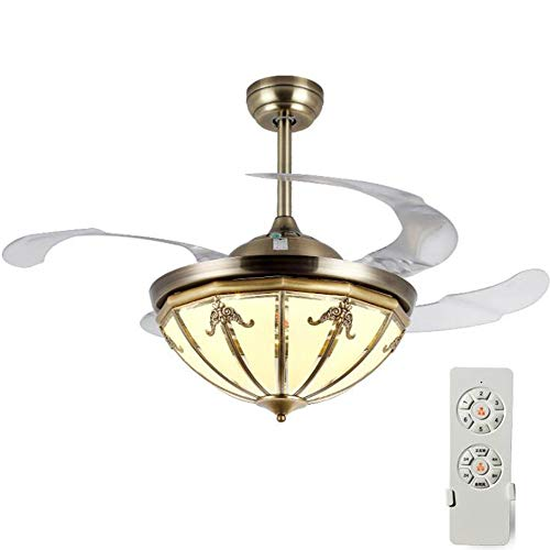 Ceiling Fan with Light Lamp 108cm LED Glass Copper Cover Tricolor Dimming ABS Invisible Ceiling Fan All Bronze (Frequency Conversion Remote Control)