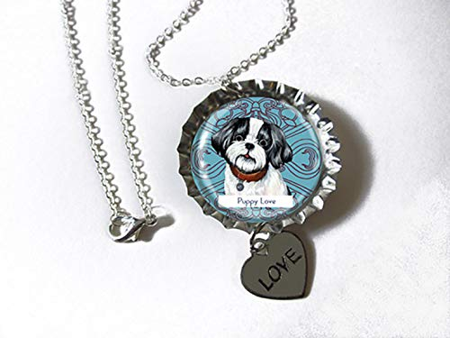 - Lhasa Apso Black and White Dog Silvertone Bottlecap Pendant Necklace with Heart Charm as a CUSTOM JEWELRY OF YOUR PET