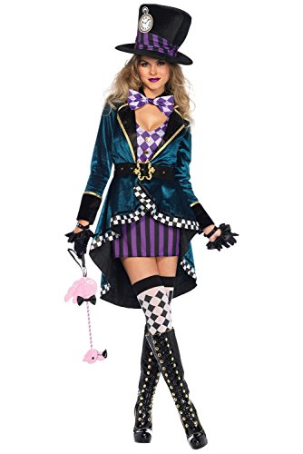 COSMOVIE Women's Delightful Mad Hatter Costume Magician Performance Costume -