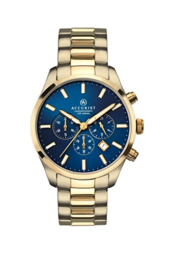 Accurist 7164 Gents Analogue Chronograph Watch With Blue Dial And Gold Bracelet