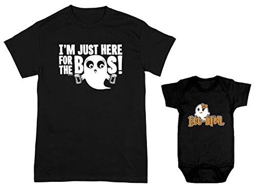HAASE UNLIMITED I'm Just Here for The Boos/Boo-Tiful 2-Pack Bodysuit & Men's T-Shirt (Black/Black, XXX-Large/18 Months) ()