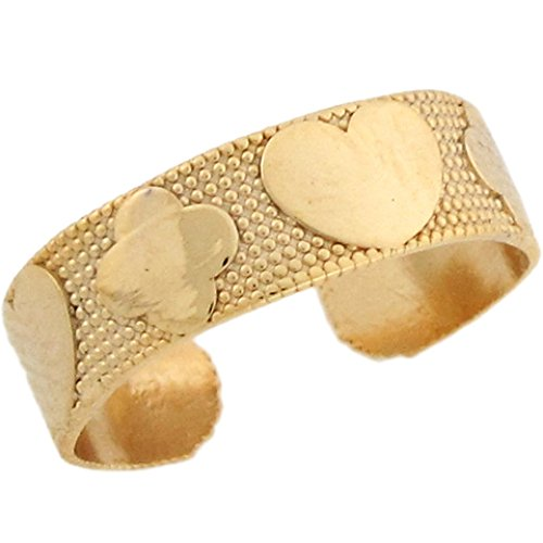 14k Yellow Real Gold Cross Heart Band Love & Faith Womens Toe Ring by Jewelry Liquidation (Image #3)