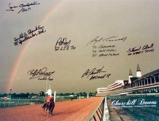 Spectacular Bid signed Churchill Downs Kentucky Derby Winners (1979) Horse Racing Rainbow 16x20 Photo 7 signatures