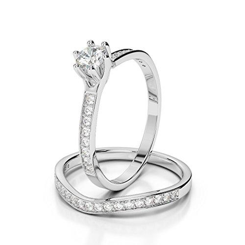 Or blanc 18carats 0,61CT G-H/VS sertie de diamants Coupe ronde de mariage Bague de fiançailles et ensemble de Agdr-2049
