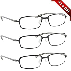 Reading Glasses _ Best 3 Pack Gray for Men and Women _ Have a Stylish Look and Crystal Clear Vision When You Need It! _ Comfort Flex Arms & Dura-Tight Screws _ 100% Guarantee +2.00