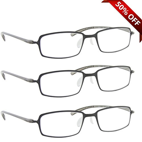 Reading Glasses _ Best 3 Pack Gray for Men and Women _ Have a Stylish Look and Crystal Clear Vision When You Need It! _ Comfort Flex Arms & Dura-Tight - Best For Glasses Asian Nose