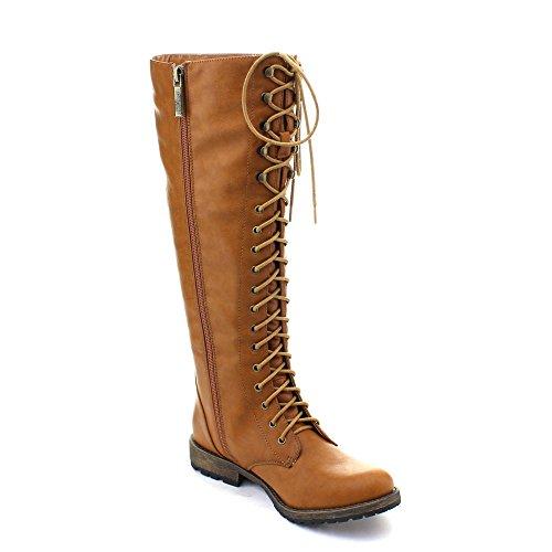 DBDK Dominique-2 Women's Side Zip Lace Up Knee High Combat Boots