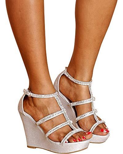 TOP Moda JESSIE-36 Women's Elegant Rhinestone Wedge Sandal Silver 8 B(M) US